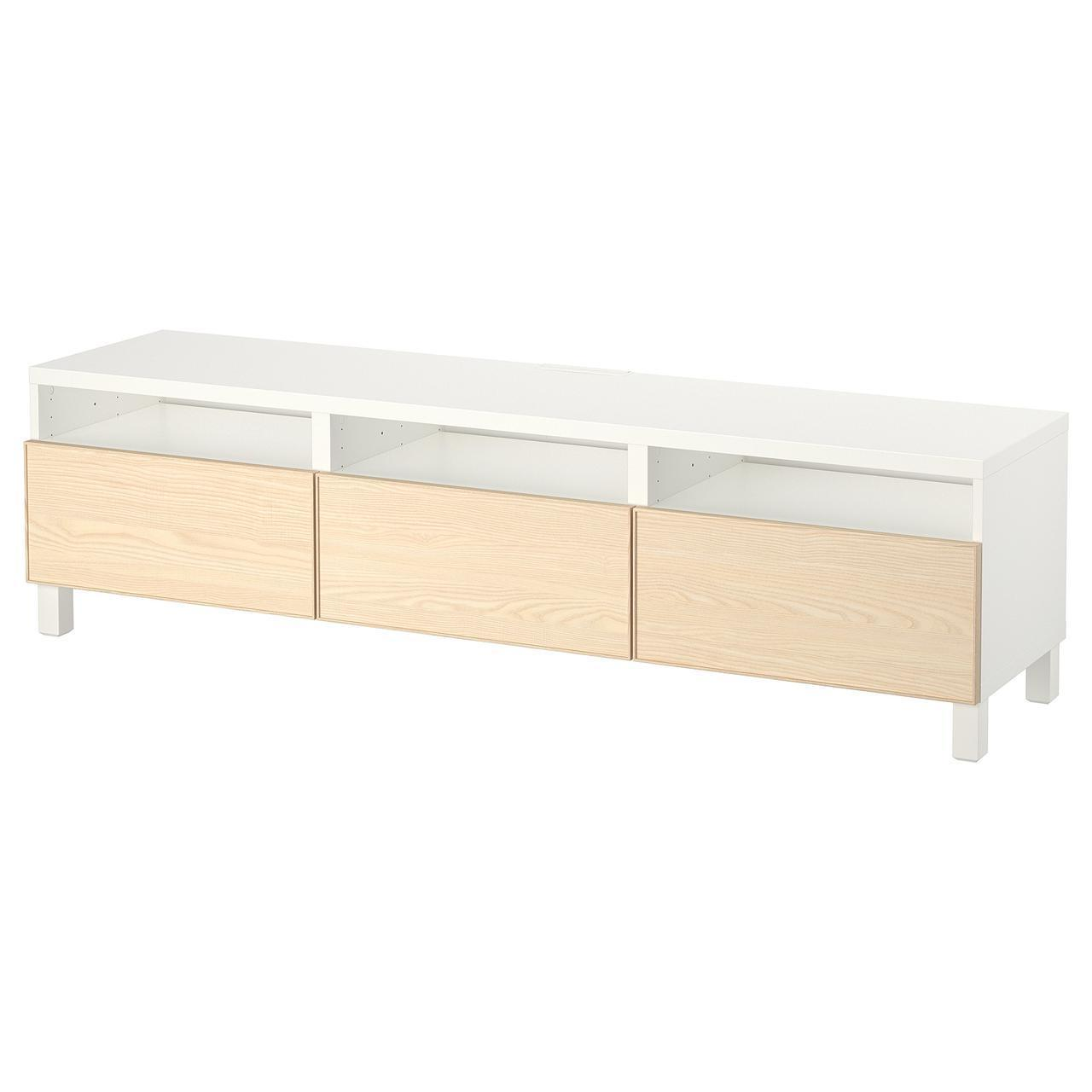 IKEA BESTA Тумба під телевізор з ящиками, білий, Инвикен шпон (492.057.50)