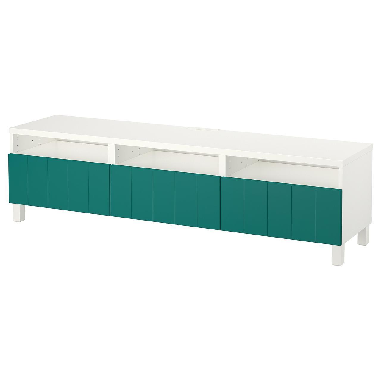IKEA BESTA Тумба під телевізор з ящиками, білий, Hallstavik синій/зелений (892.057.86)