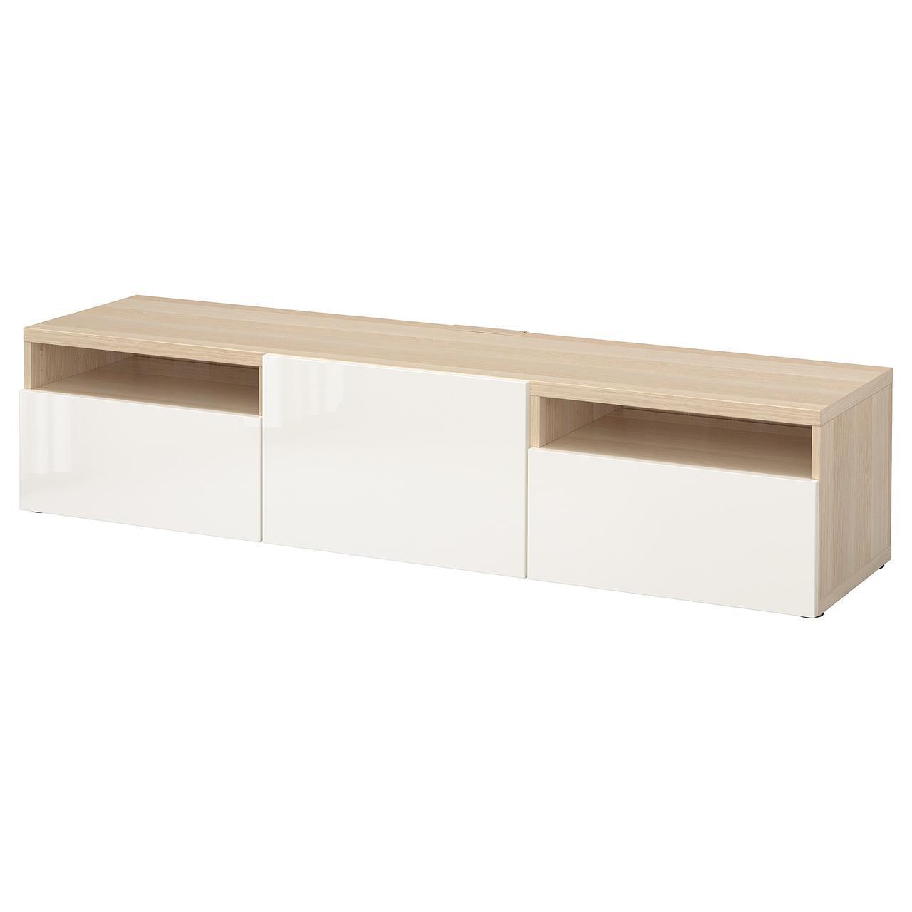 IKEA BESTA Тумба під телевізор, білий стаинедед дуб, Сельсвикен глянцевий/білий (591.885.14)
