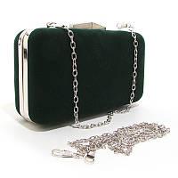Зеленая маленькая сумка rh-09829-1 gre вечерняя клатч-бокс велюр на цепочке, фото 1