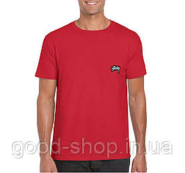 Мужская футболка Stussy, мужская футболка Стуси, спортивная, брендовая, хлопок, красная, копия