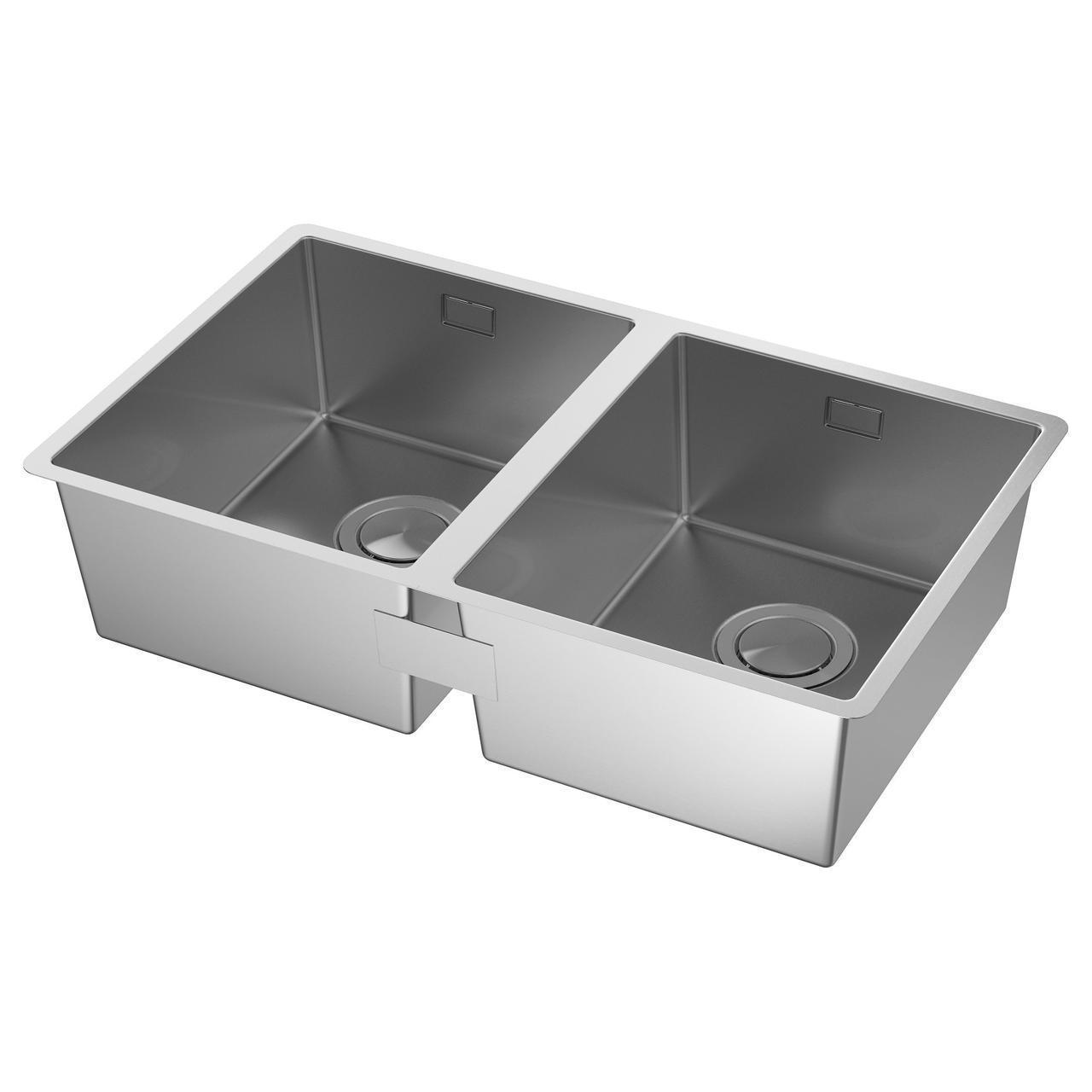 IKEA NORRSJON Двойная мойка, нержавеющая сталь  (391.579.19)