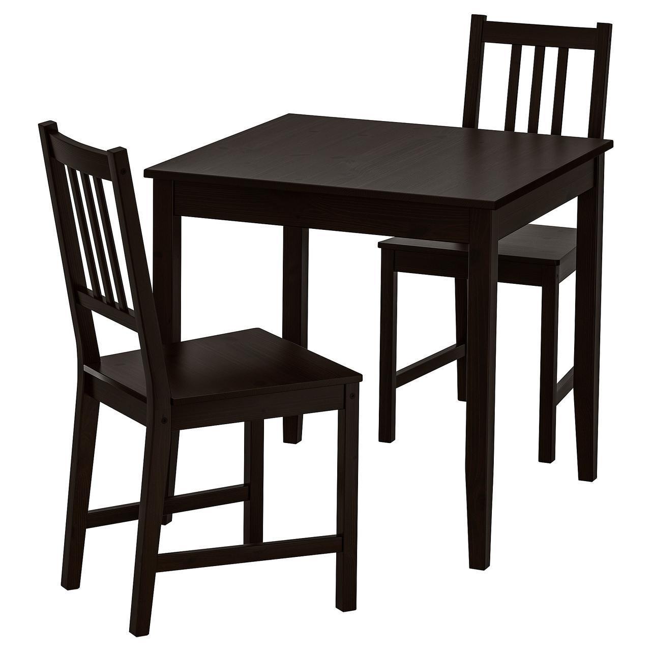 IKEA LERHAMN/STEFAN Стол и 2 стула, черно-коричневый, бронзовый  (992.969.22)
