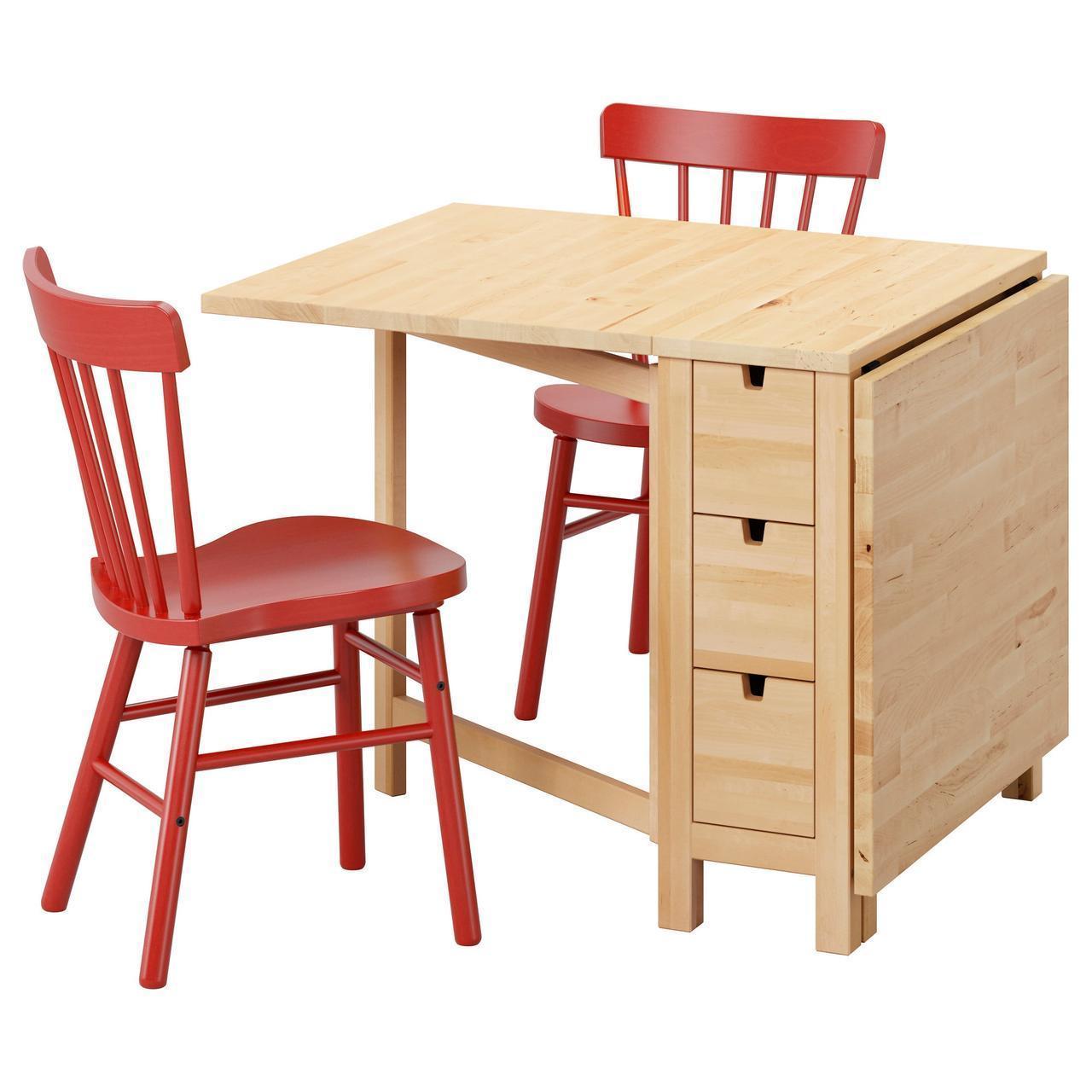 IKEA NORDEN/NORRARYD Стол и 2 стула, береза, красный  (792.291.70)