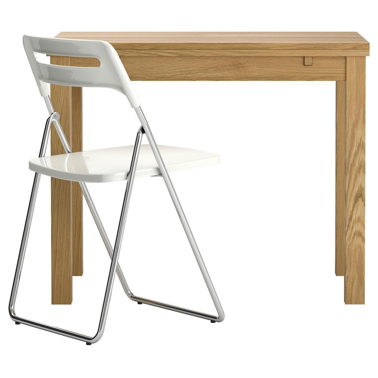 IKEA BJURSTA/NISSE Стол и 1 стул, дубовый шпон, белый  (298.855.80)