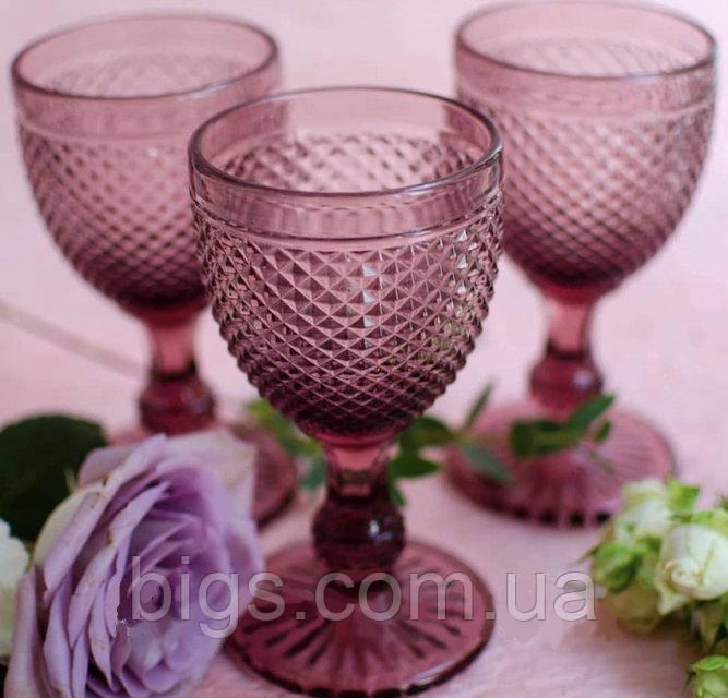 "Набор Бокалов розовые 6 шт, 250 мл ""Амбер"" ( бокалы для вина )"