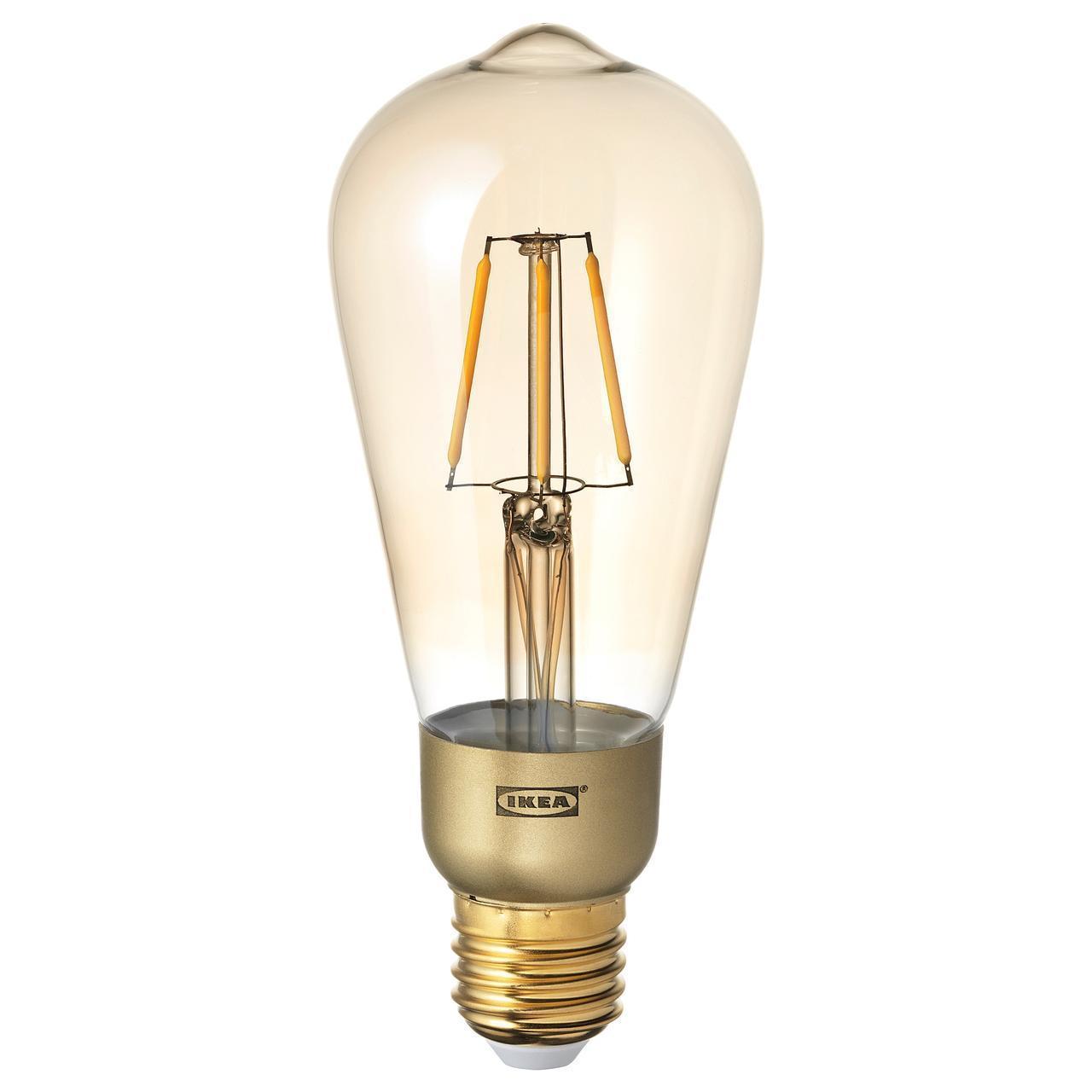 IKEA LUNNOM Светодиодная лампа E27 400 люмен, регулируемая яркость, падение-формы (903.428.34)