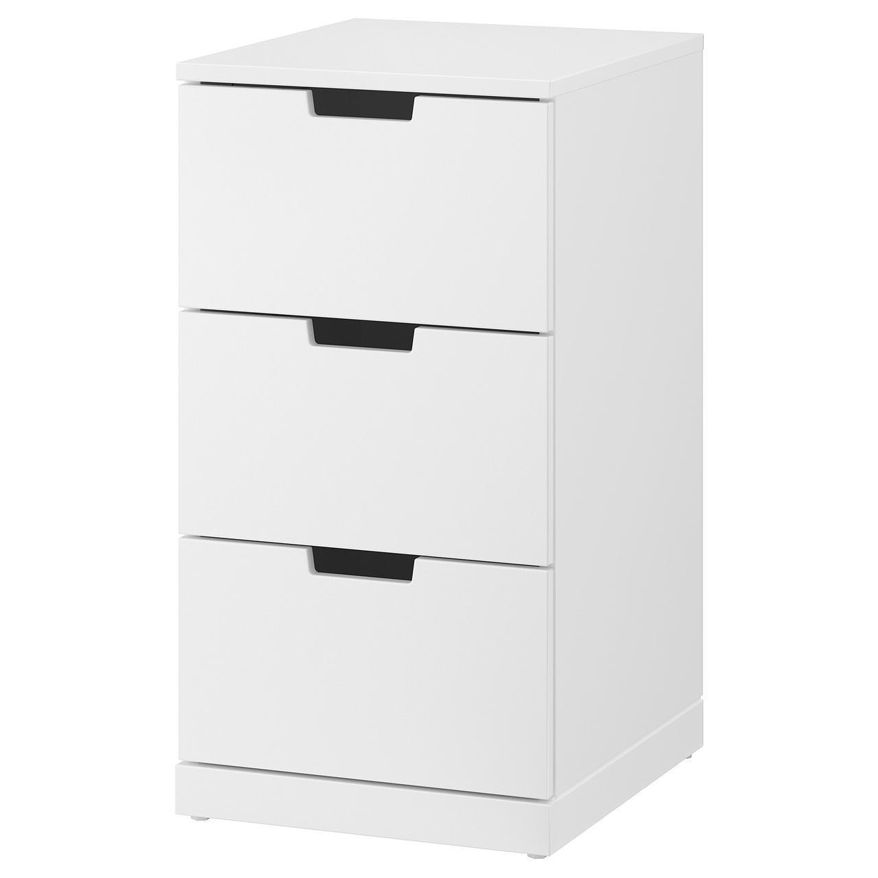 IKEA NORDLI Комод с 3 ящиками, белый  (392.398.35)