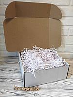 Коробка белая 250*250*100 мм  для подарка с белым наполнителем , для сувенира, для мыла, косметики, пряника, фото 1