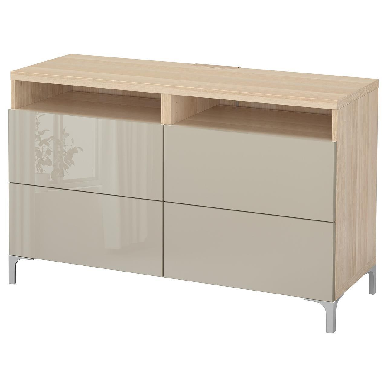 IKEA BESTA Тумба под телевизор с ящиками, белый дуб, Сельсвикен глянцевый/бежевый  (891.939.53)