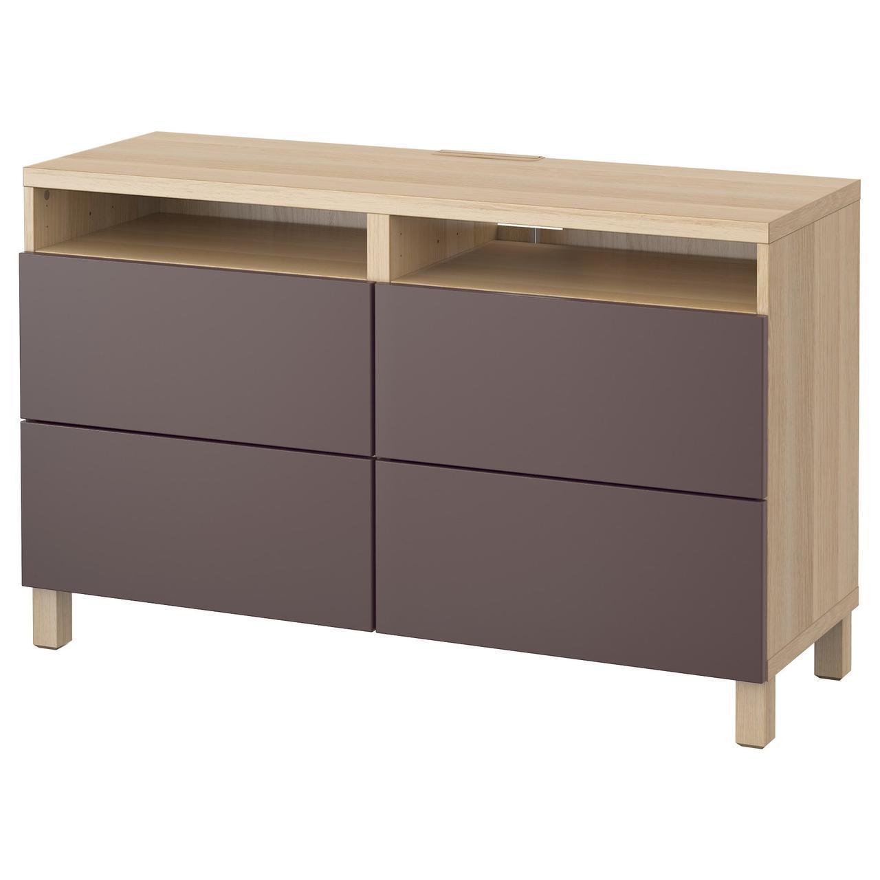 IKEA BESTA Тумба под телевизор с ящиками, белый дуб, Вальвикен темно-коричневый  (091.938.86)