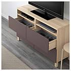 IKEA BESTA Тумба под телевизор с ящиками, белый дуб, Вальвикен темно-коричневый  (091.938.86), фото 3