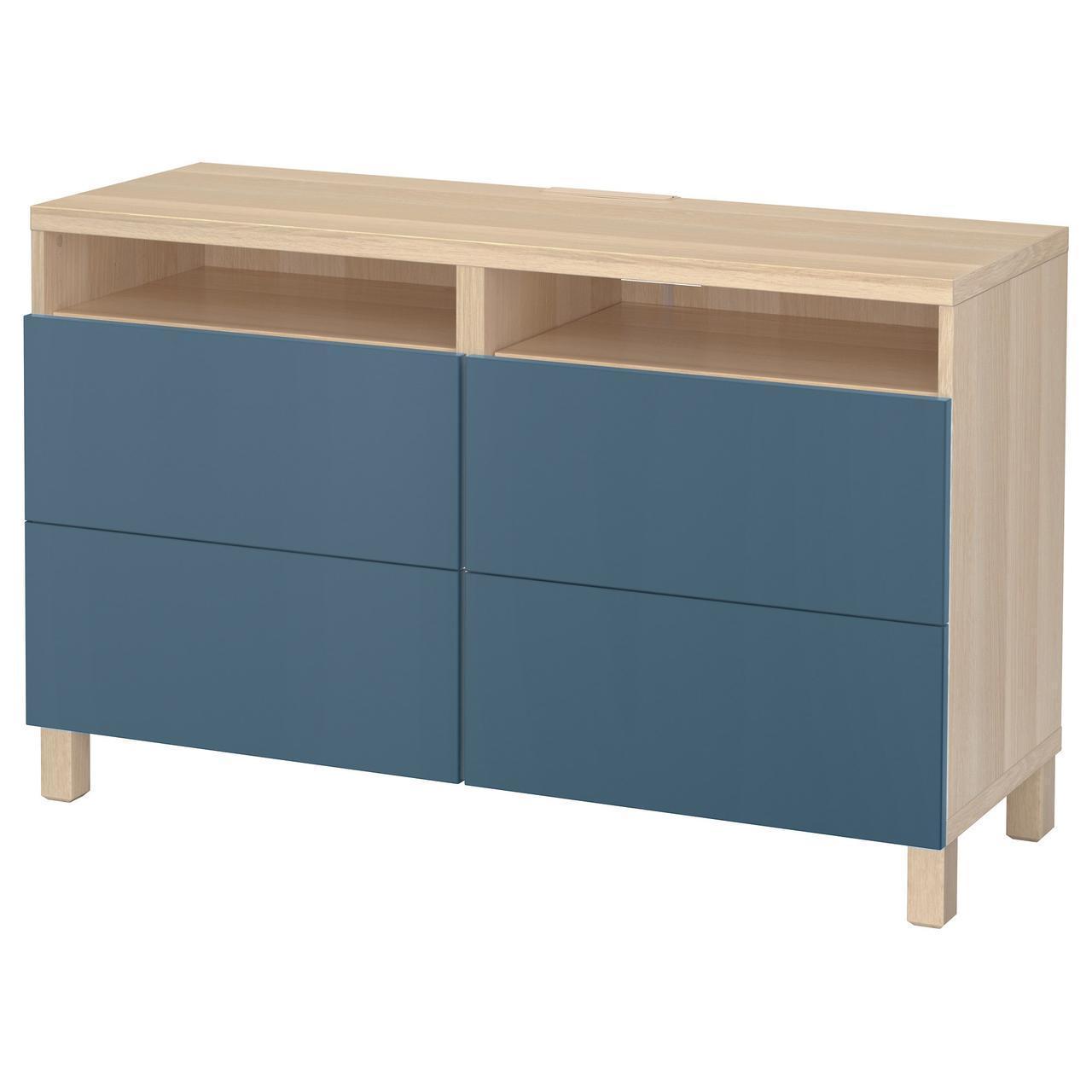 IKEA BESTA Тумба под телевизор с ящиками, белый дуб, Вальвикен синий  (692.026.80)