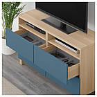 IKEA BESTA Тумба под телевизор с ящиками, белый дуб, Вальвикен синий  (692.026.80), фото 3