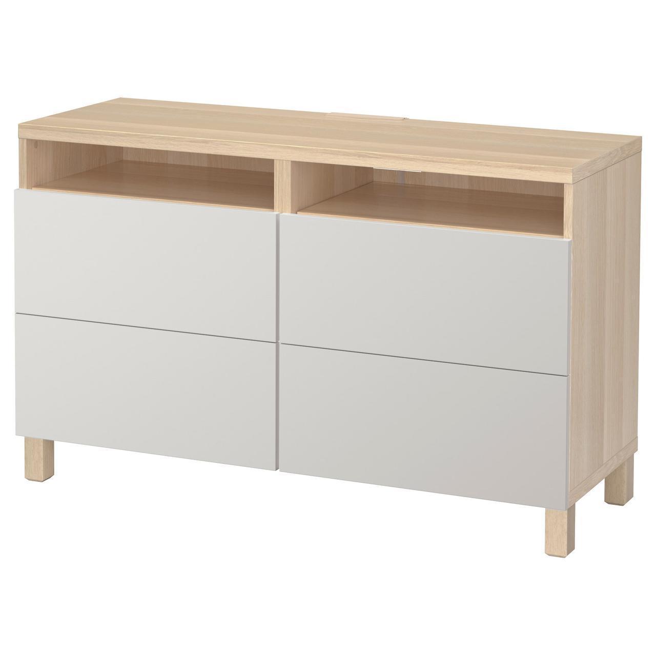 IKEA BESTA Тумба под телевизор с ящиками, белый дуб, Лаппвикен светло-серый  (492.026.24)