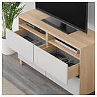 IKEA BESTA Тумба под телевизор с ящиками, белый дуб, Лаппвикен светло-серый  (492.026.24), фото 3