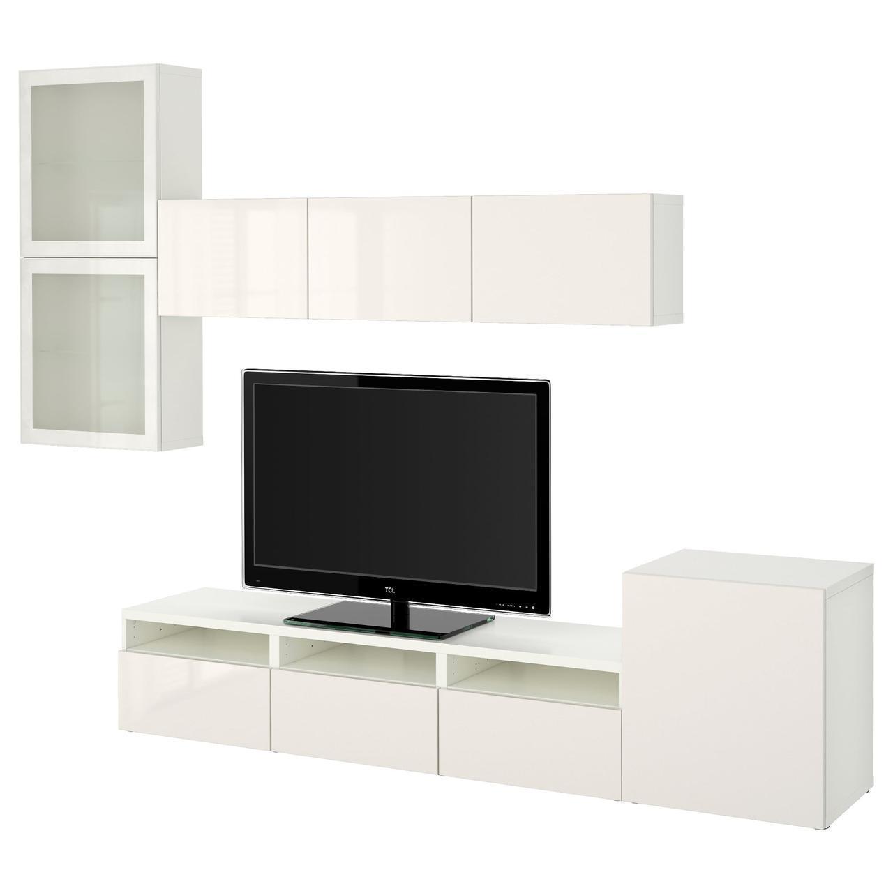 IKEA BESTA Тумба под телевизор с стеклянными дверьми, белый, Сельсвикен (191.919.57)