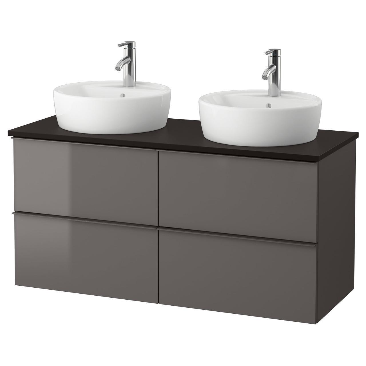 IKEA GODMORGON/TOLKEN/TORNVIKEN Шкаф под умывальник с раковиной, глянцевый серый, антрацит  (091.857.87)