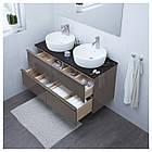 IKEA GODMORGON/TOLKEN/TORNVIKEN Шкаф под умывальник с раковиной, глянцевый серый, антрацит  (091.857.87), фото 2