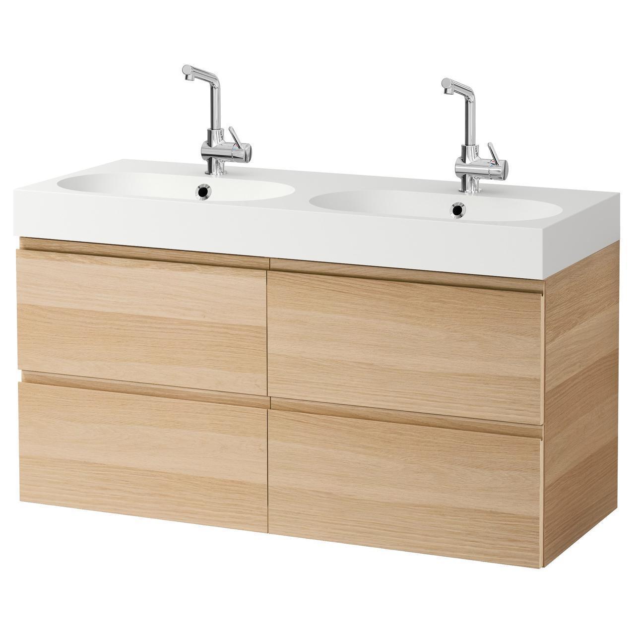 IKEA GODMORGON/BRAVIKEN Шкаф под умывальник с раковиной, Дуб беленый  (991.865.32)