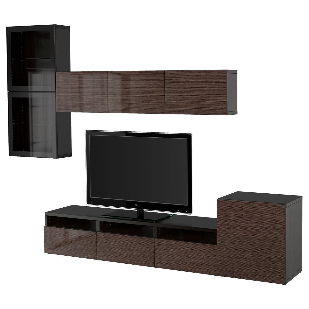 IKEA BESTA Тумба под телевизор с стеклянными дверьми, черно-коричневый, Сельсвикен (591.918.99)