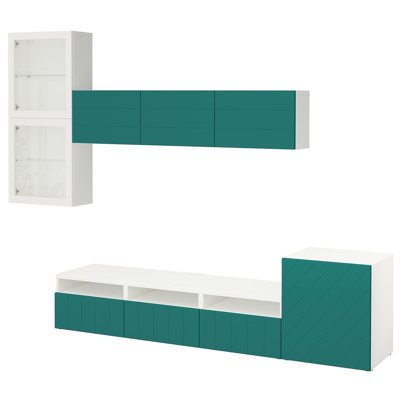 IKEA BESTA Тумба под телевизор с стеклянными дверьми, белое Hallstavik, Голубое/зеленое (192.074.87)