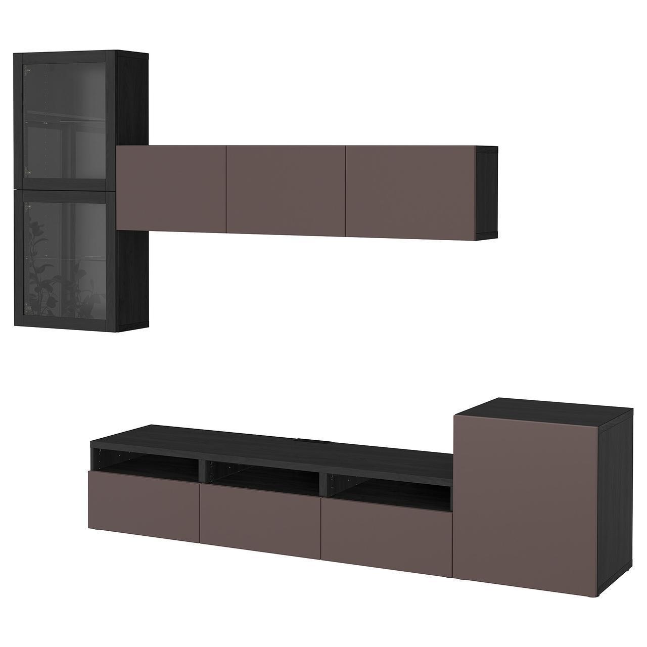 IKEA BESTA Тумба под телевизор с стеклянными дверьми, черн-коричневый цвет, Вальвикен (891.919.11)