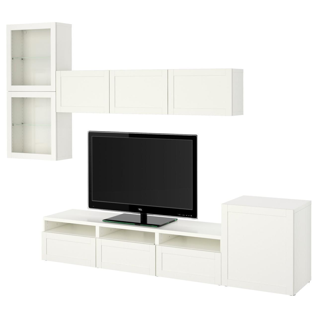 IKEA BESTA Тумба под телевизор с стеклянными дверьми, Ханвикен, Синдвик белое ясное (291.918.29)