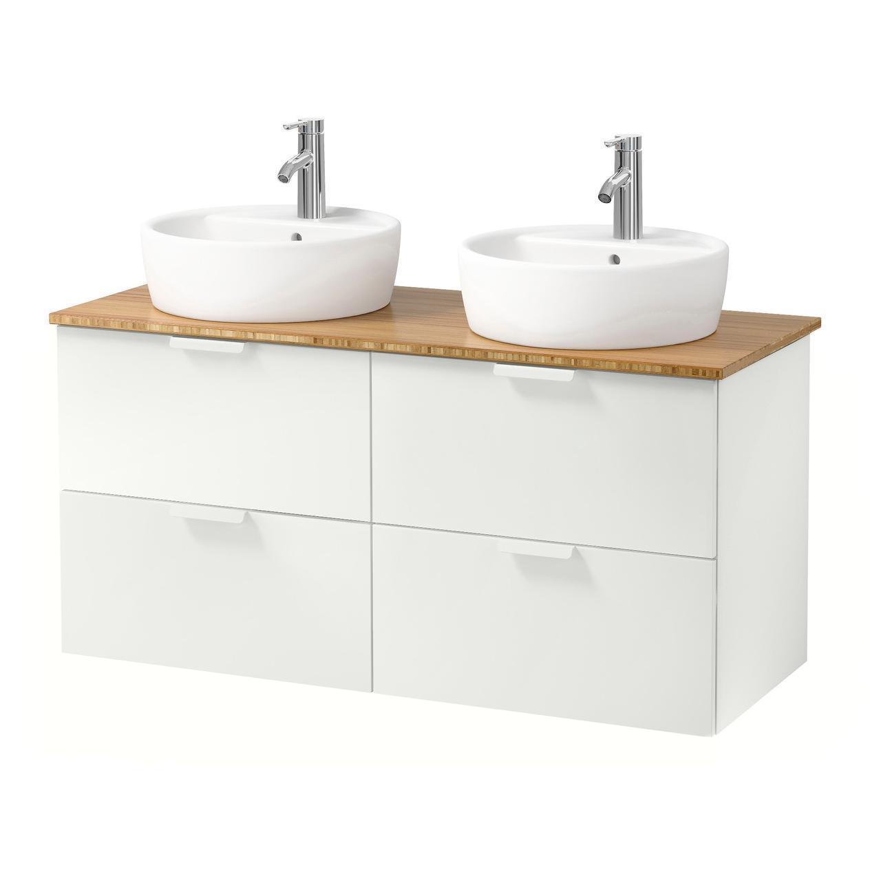 IKEA GODMORGON/TOLKEN/TORNVIKEN Шафа під умивальник з раковиною, білий, бамбук (691.849.21)