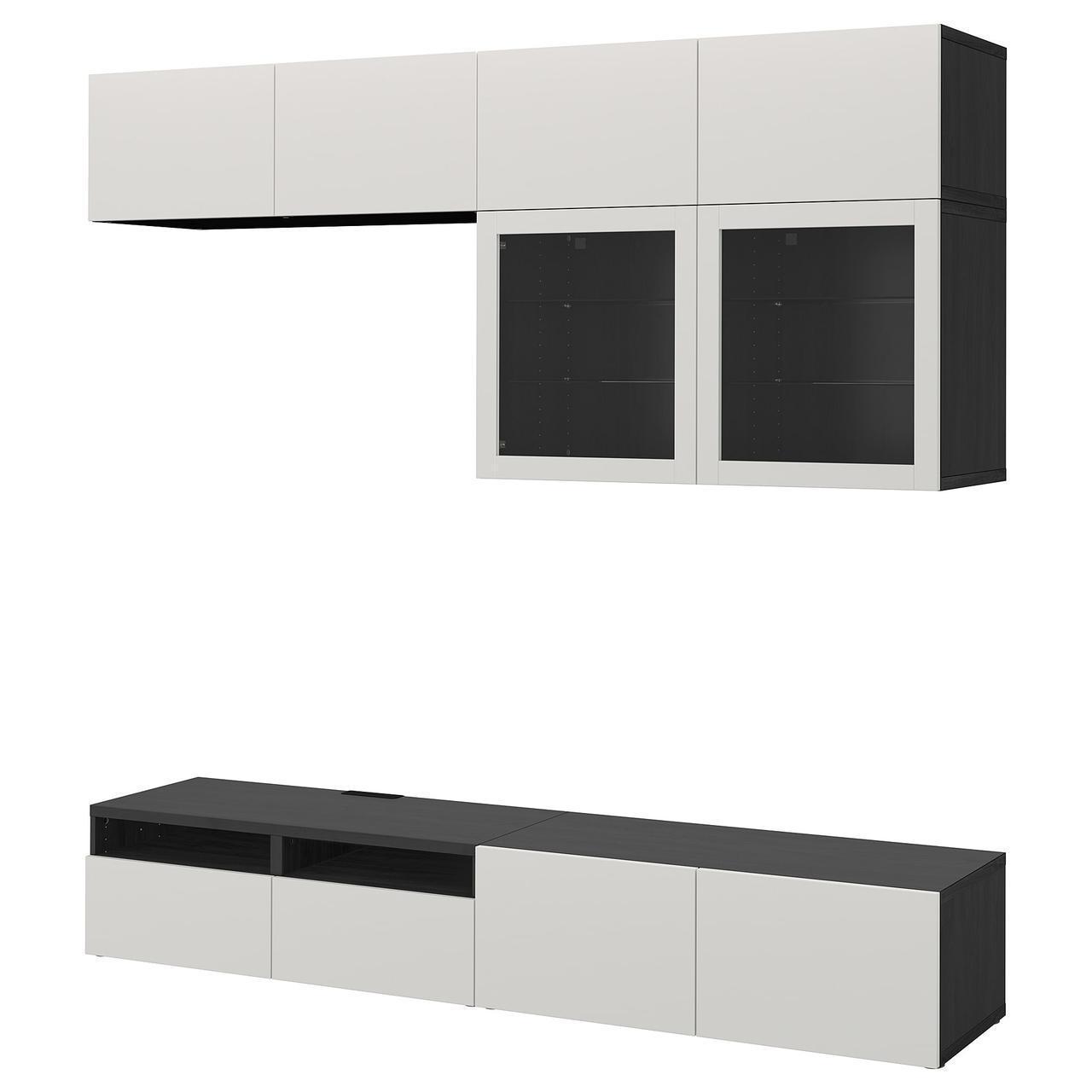 IKEA BESTA Тумба под телевизор с стеклянными дверьми, черно-коричневый Лаппвикен, (892.023.25)