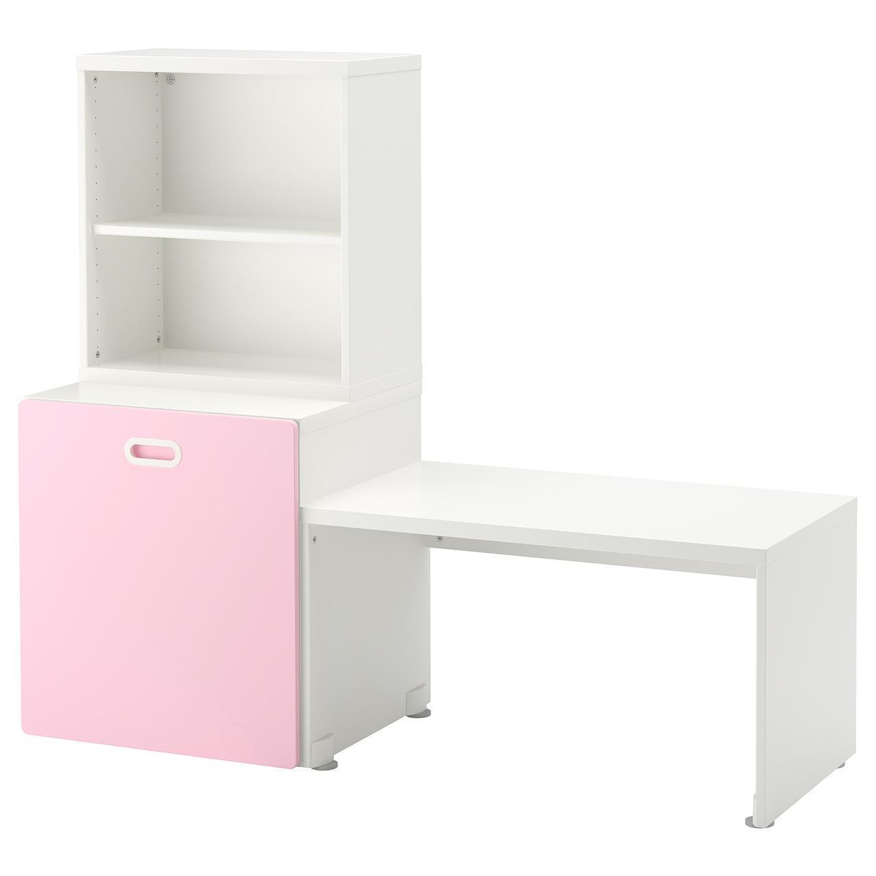IKEA STUVA/FRITIDS Стол с ящиком для игрушек, белый, светло-розовый  (392.796.33)