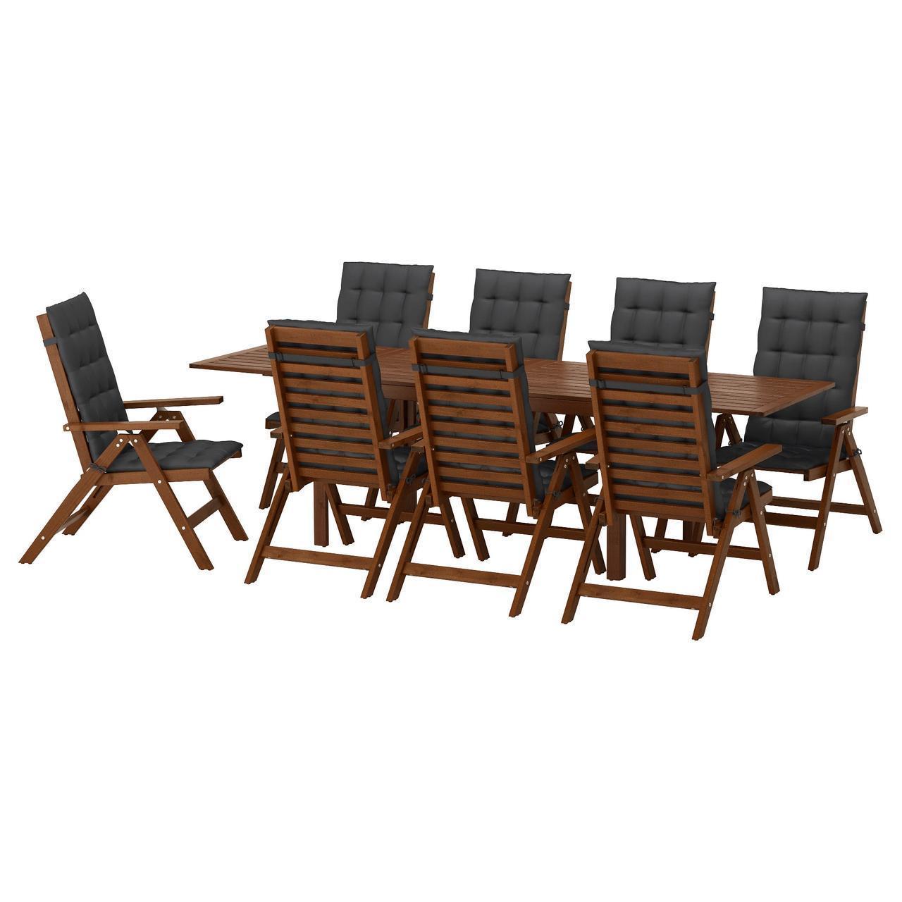 IKEA APPLARO Садовый стол и 8 раскладных стульев, коричневая морилка, Холло (991.569.31)