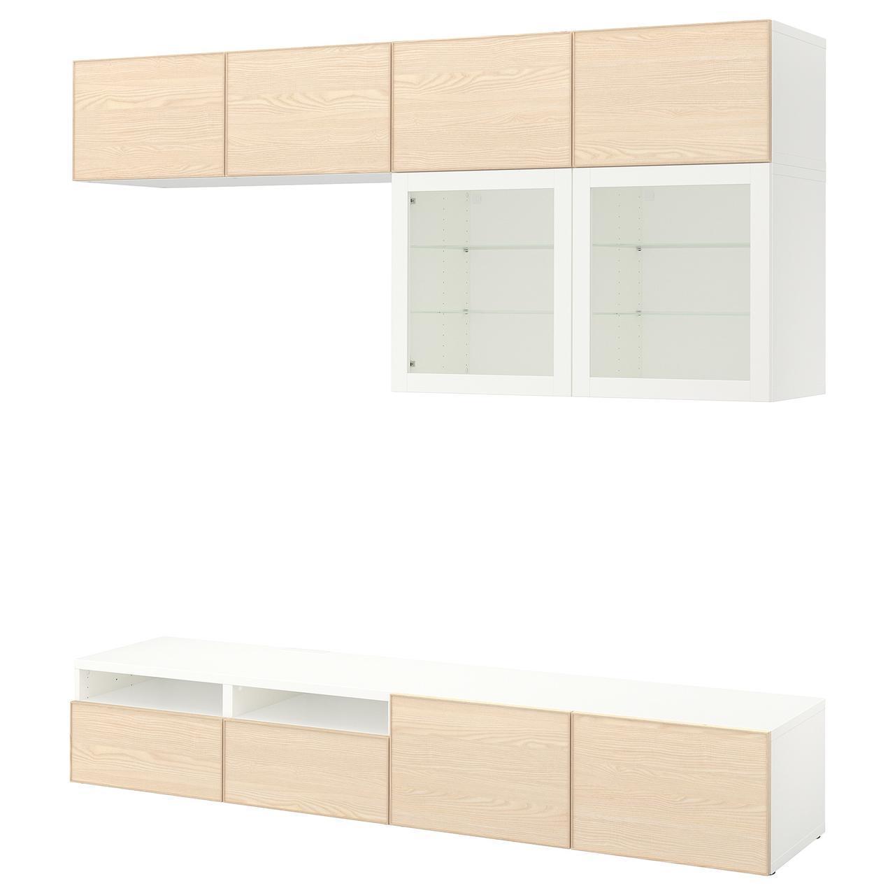 IKEA BESTA Тумба под телевизор с стеклянными дверьми, белый Синдвик, шпон Инвикен золы  (392.076.55)
