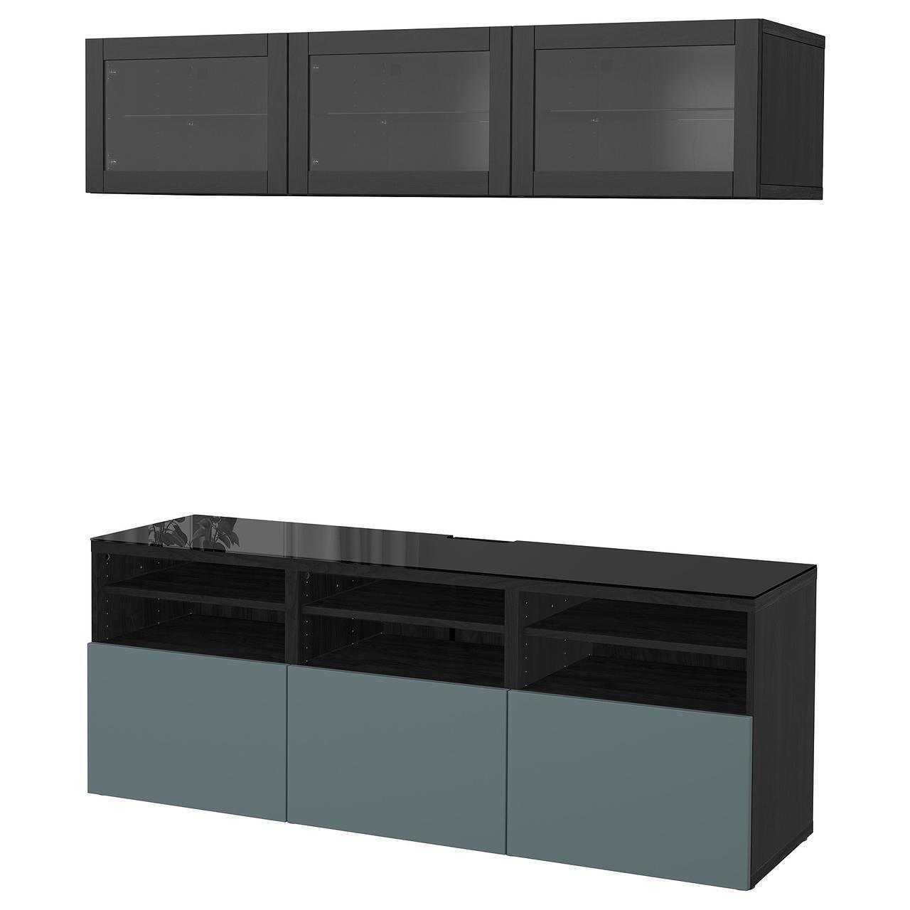 IKEA BESTA Тумба под телевизор с стеклянными дверьми, черн-коричневый цвет, Вальвикен (691.964.91)