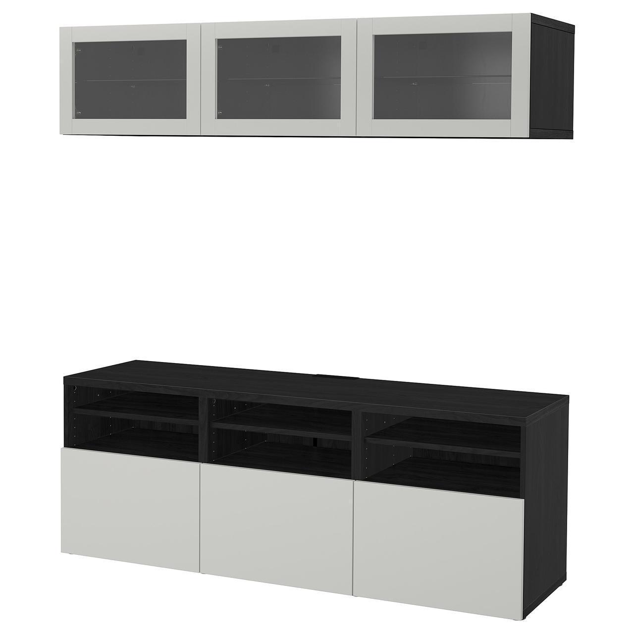 IKEA BESTA Тумба під телевізор з скляними дверима, чорно-коричневий (992.031.12)