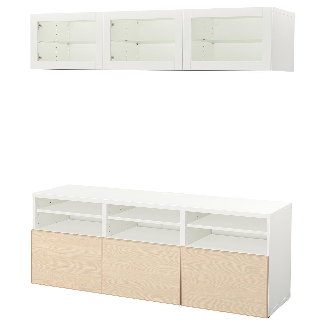 IKEA BESTA Тумба под телевизор с стеклянными дверьми, белый Синдвик, шпон Инвикен золы  (592.036.75)