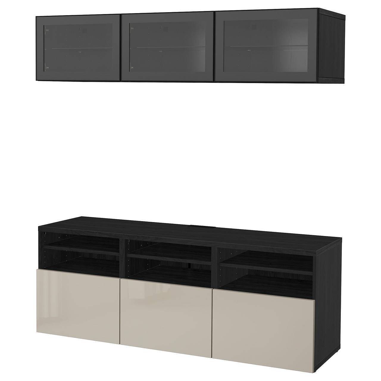 IKEA BESTA Тумба под телевизор с стеклянными дверьми, черн-коричневый цвет, Сельсвикен (691.945.24)