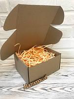 Коробка 205*205*125 мм крафт для подарка с персиковым наполнителем , для сувенира, для мыла, косметики
