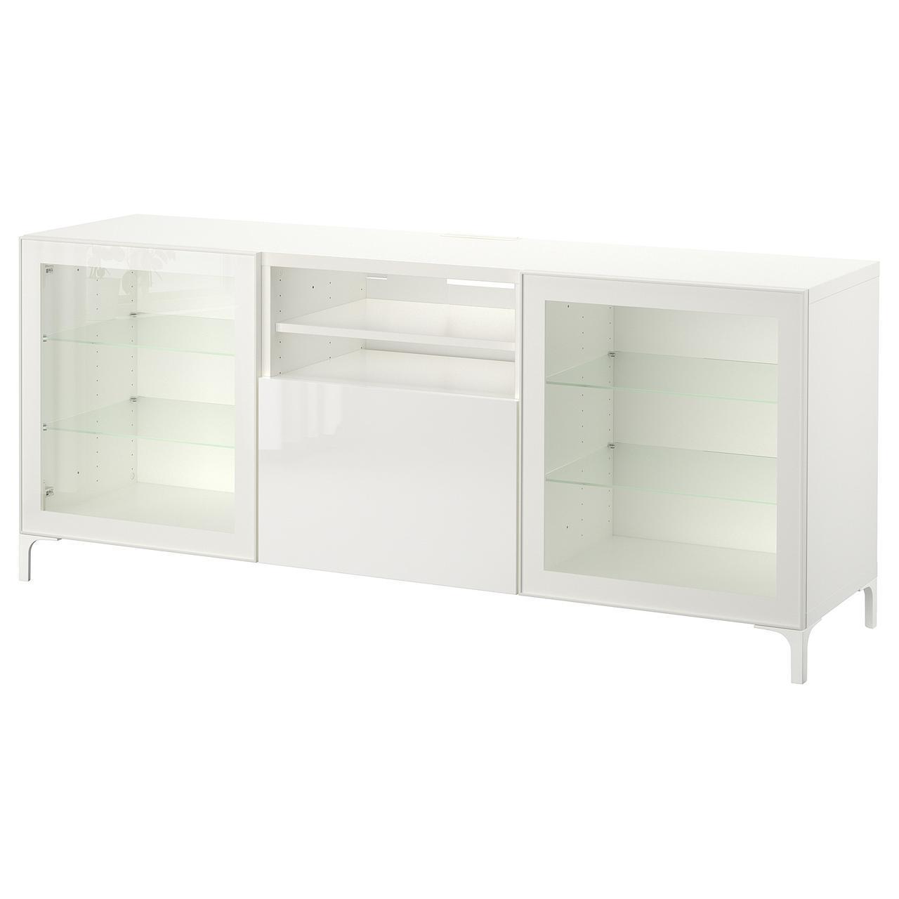 IKEA BESTA Тумба под телевизор с ящиками, белый, Сельсвикен глянцевый/белый (291.940.31)