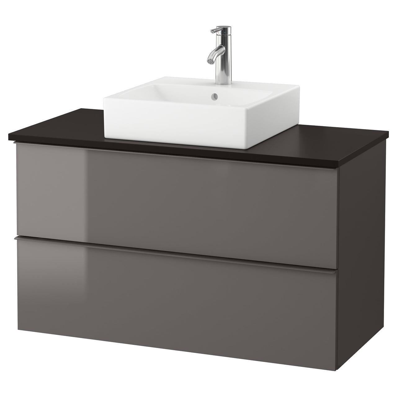IKEA GODMORGON/TOLKEN/TORNVIKEN Шкаф под умывальник с раковиной 45 см, глянцевый серый, антрацит  (391.857.38)