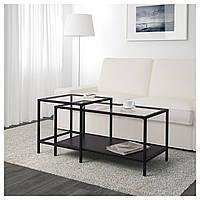 Журнальный столик IKEA VITTSJO 2 шт, черно-коричневый, стекло (802.153.32)