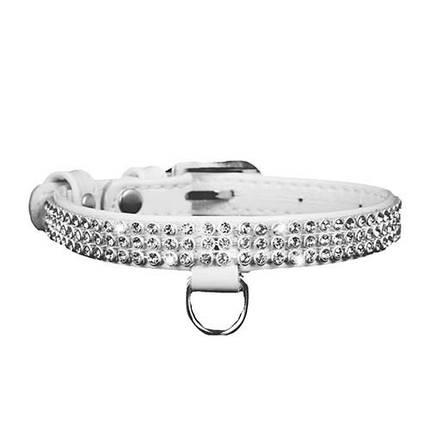 Ошейник Collar Brilliance для собак полотно стразы, белый, 9 мм, 18-21 см, фото 2