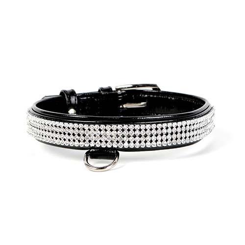 Ошейник Collar Brilliance для собак полотно стразы, черный, 15 мм, 27-36 см