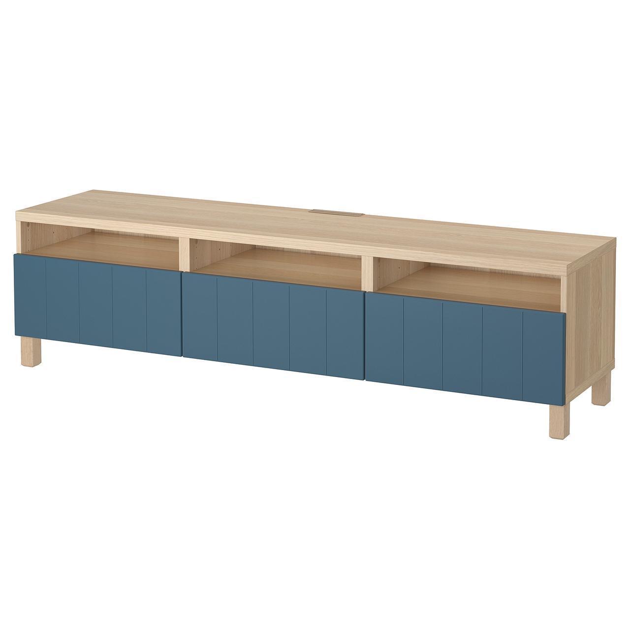 IKEA BESTA Тумба под телевизор с ящиками, белый дуб, Hallstavik синий  (192.058.03)
