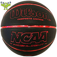 Wilson NCAA HIGHLIGHT мяч баскетбольный размер 7, цвет: красный-черный (WTB067525XD7)