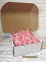 Коробка белая 250*250*100 мм для подарка с розовым наполнителем , для сувенира, для мыла, косметики