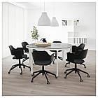 IKEA BEKANT Стол для конференций, черный окрашенный ясень шпон, белый  (492.846.72), фото 2