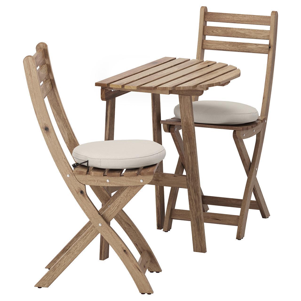 IKEA ASKHOLMEN Садовый стол и 2 раскладных стула, серо-коричневая морилка, (792.623.05)