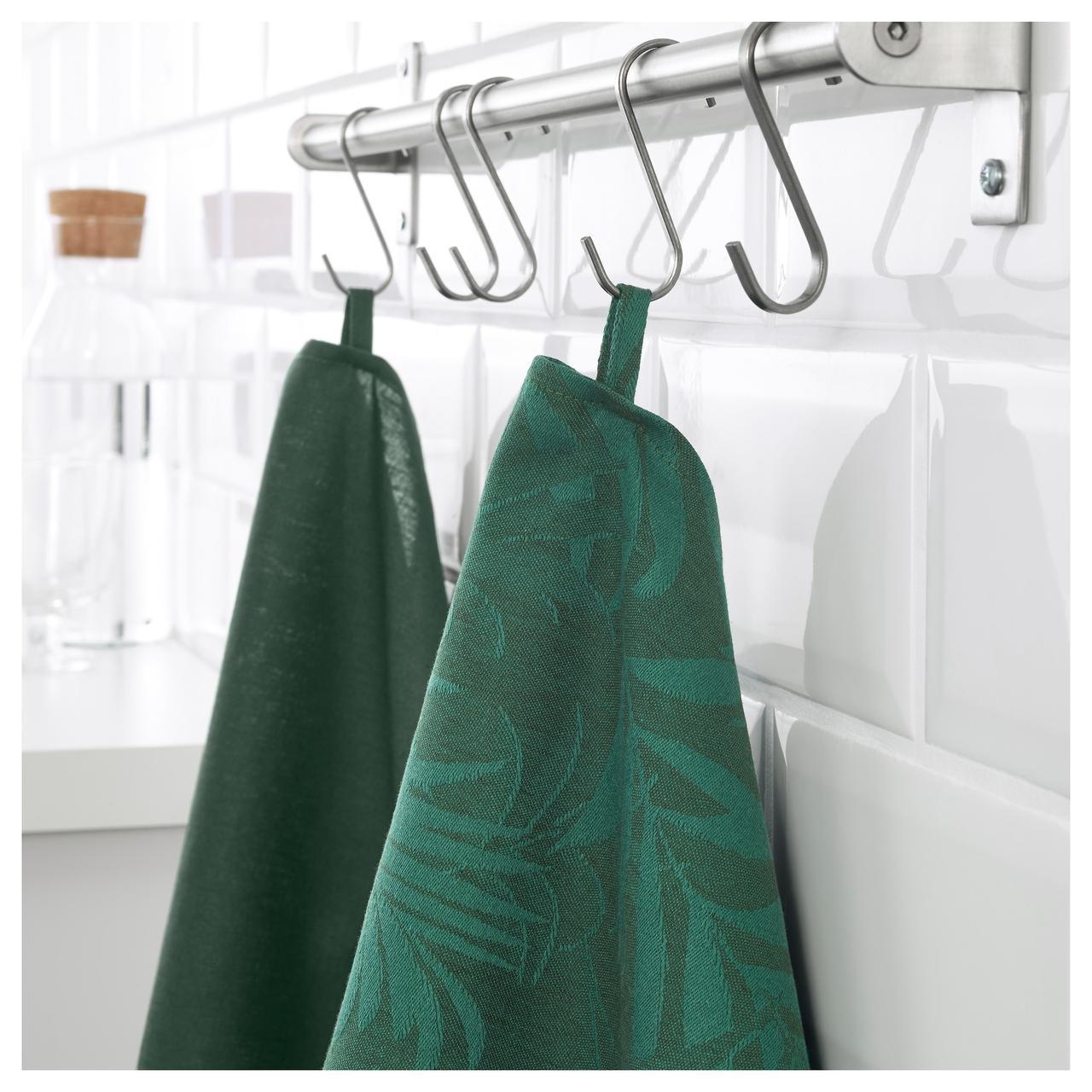 IKEA VILDKAPRIFOL Кухонное полотенце, зеленые листья  (703.655.34)