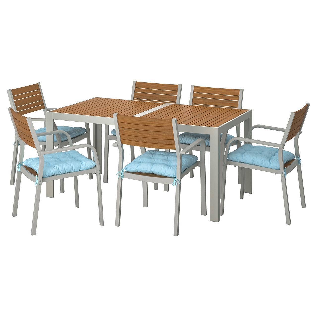 IKEA SJALLAND Садовый стол и 6 стульев (792.916.28)